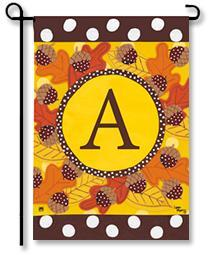 "Fall Follies Monogram ""A"" Garden Flag"
