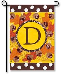 "Fall Follies Monogram ""D"" Garden Flag"