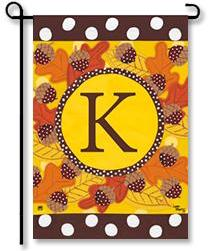 "Fall Follies Monogram ""K"" Garden Flag"