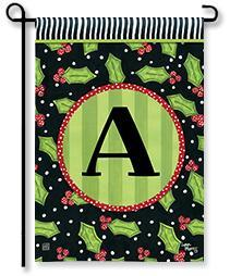 "Holly Leaves Monogram ""A"" Garden Flag"