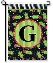 "Holly Leaves Monogram ""G"" Garden Flag"
