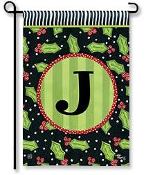"Holly Leaves Monogram ""J"" Garden Flag"