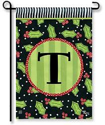 "Holly Leaves Monogram ""T"" Garden Flag"