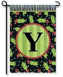 "Holly Leaves Monogram ""Y"" Garden Flag"