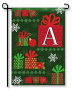"Holiday Gifts Monogram ""A"" Garden Flag"