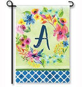 "Fresh & Pretty Floral Monogram ""A""  Garden Flag"