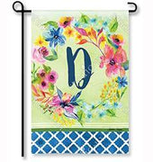 "Fresh & Pretty Floral Monogram ""D""  Garden Flag"