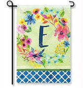"Fresh & Pretty Floral Monogram ""E""  Garden Flag"