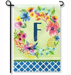 "Fresh & Pretty Floral Monogram ""F""  Garden Flag"
