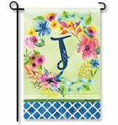 "Fresh & Pretty Floral Monogram ""J""  Garden Flag"