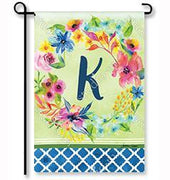 "Fresh & Pretty Floral Monogram ""K""  Garden Flag"