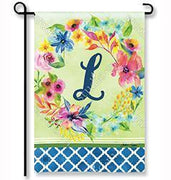 "Fresh & Pretty Floral Monogram ""L""  Garden Flag"
