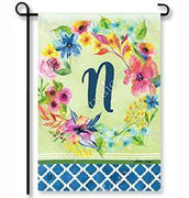 "Fresh & Pretty Floral Monogram ""N""  Garden Flag"