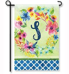 "Fresh & Pretty Floral Monogram ""S""  Garden Flag"