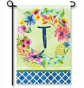 "Fresh & Pretty Floral Monogram ""T""  Garden Flag"