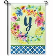 "Fresh & Pretty Floral Monogram ""Y""  Garden Flag"