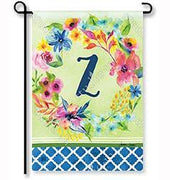 "Fresh & Pretty Floral Monogram ""Z""  Garden Flag"