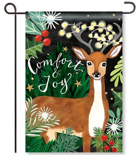 Comfort and Joy Deer Garden Flag