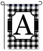 "Black and White Monogram ""A"" Garden Flag"