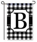 "Black and White Monogram ""B"" Garden Flag"