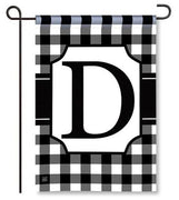 "Black and White Monogram ""D"" Garden Flag"