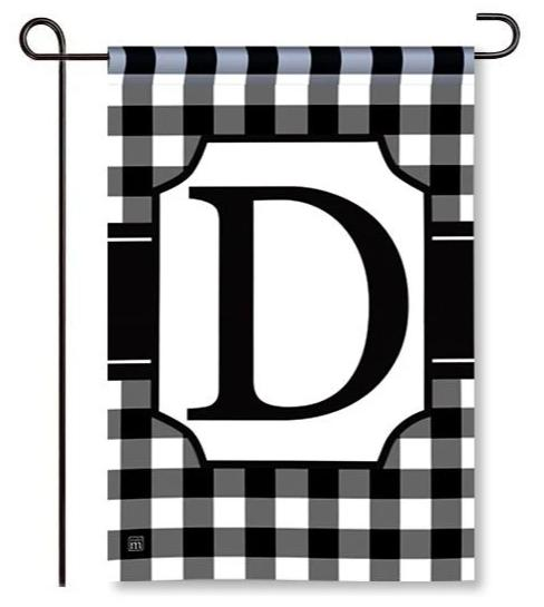 "Black and White Mono ""D"" Garden Flag"