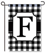 "Black and White Monogram ""F"" Garden Flag"