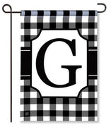 "Black and White Monogram ""G"" Garden Flag"