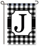 "Black and White Monogram ""J"" Garden Flag"