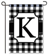 "Black and White Monogram ""K"" Garden Flag"