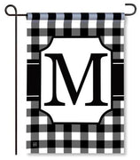 "Black and White Monogram ""M"" Garden Flag"
