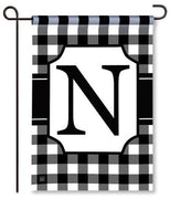 "Black and White Monogram ""N"" Garden Flag"