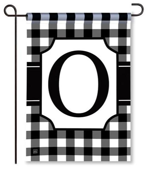 "Black and White Mono ""O"" Garden Flag"
