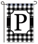 "Black and White Monogram ""P"" Garden Flag"