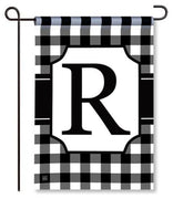 "Black and White Monogram ""R"" Garden Flag"