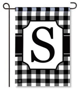 "Black and White Monogram ""S"" Garden Flag"