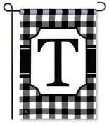 "Black and White Monogram ""T"" Garden Flag"