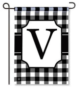 "Black and White Monogram ""V"" Garden Flag"