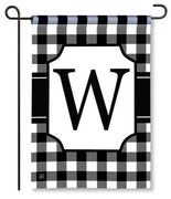 "Black and White Monogram ""W"" Garden Flag"