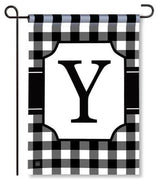 "Black and White Monogram ""Y"" Garden Flag"