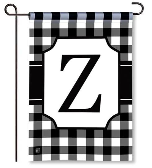 "Black and White Mono ""Z"" Garden Flag"