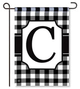 "Black and White Monogram ""C"" Garden Flag"