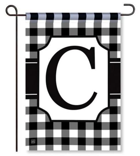 "Black and White Mono ""C"" Garden Flag"