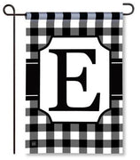 "Black and White Monogram ""E"" Garden Flag"