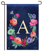 "Boho Flowers Monogram ""A"" Garden Flag"