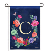 "Boho Flowers Monogram  ""C"" Garden Flag"