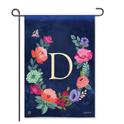 "Boho Flowers Monogram  ""D"" Garden Flag"