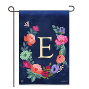 "Boho Flowers Monogram  ""E"" Garden Flag"