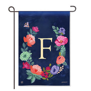 "Boho Flowers Monogram ""F"" Garden Flag"