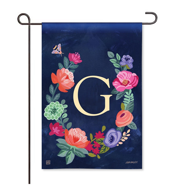 "Boho Flowers Monogram  ""G"" Garden Flag"